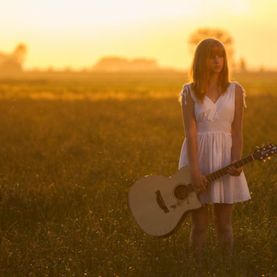Fotoshoot gitaar muziek zonsondergang
