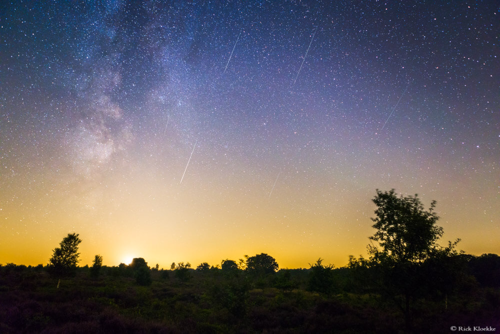 Perseiden meteorenregen melkweg